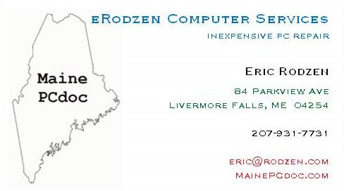 Erodzen computer services inexpensive local pc hardware and my business card erodzen computer services pc support web design eric rodzen reheart Image collections